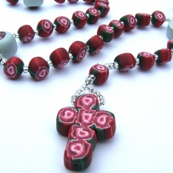 Red Rose Rosary with Immaculate Hearts