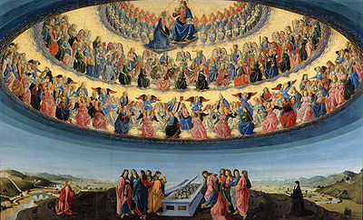 The Assumption of the Virgin by Francesco Botticini at the National Gallery London, shows three hierarchies and nine orders of angels, each with different characteristics. [Photo uploaded by The Rosary Team]